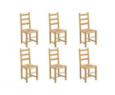 Lot de 6 chaises FARMER - Hêtre massif naturel & assise paille de riz