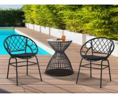 Salon de jardin SOUGIA en résine tressée : une table et 2 chaises empilables - Noir