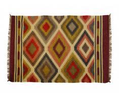 Tapis kilim tissé main en laine et jute CARNAVAL - 120x170cm - Multicolore