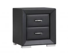 Table de chevet CAPITOLE - 2 tiroirs - Simili noir