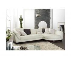 Canapé d'angle 100% cuir de buffle 5 places CAPRI II - Ivoire - Angle droit