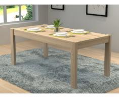 Table à manger MARTIAL - 6 couverts - MDF - Coloris : Chêne