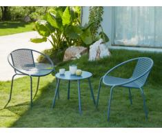 Salon de jardin NAJAC en métal: 2 fauteuils ronds empilables et une table d'appoint - Anthracite