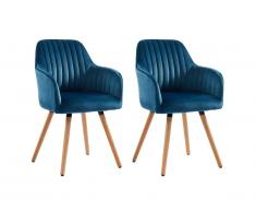 Lot de 2 chaises avec accoudoirs ELEANA - Velours & Métal effet bois - Bleu