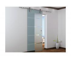Porte coulissante en applique GLASSY - H205 x L83 cm - Verre trempé