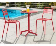 Salle à manger de jardin LUXEMBOURG : une petite table et 2 chaises - rouge