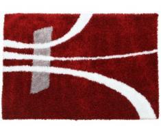 Tapis shaggy IVANIE - 160*230 cm - Rouge et blanc