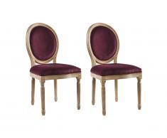 Lot de 2 chaises LOUIS XVI - Velours - Coloris prune
