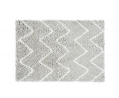 Tapis shaggy DRESDE - polyester - Gris et blanc - 200 x 290 cm