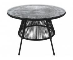 Table de jardin KELIOS en fils de résine tressés - noir