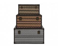 Set de 3 coffres malles BRIANA - L .70/60/30 cm - Beige, orange et noir