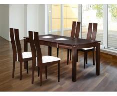 Pack salle à manger: Ensemble Table + 4 chaises SALENA - Hêtre massif - Coloris wengé