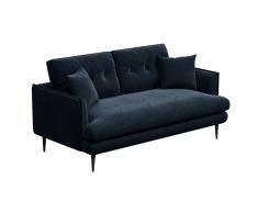 Canapé 2 places en velours GANESH - Bleu nuit