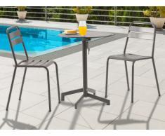 Salle à manger de jardin LUXEMBOURG : une petite table et 2 chaises - Taupe