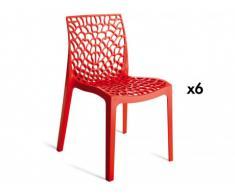 Lot de 6 chaises empilables DIADEME - Polypropylène - Rouge vermillon