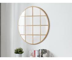 Miroir rond art déco ALYSSA - effet laiton - D.76 cm - Doré