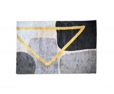 Tapis style contemporain PICADILLY - 120 x 170 cm - Gris, noir et doré
