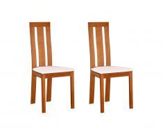 Lot de 2 chaises DOMINGO - Hêtre massif coloris naturel