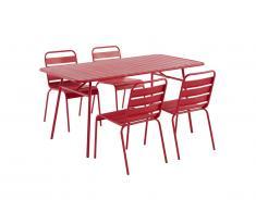 Salle à manger de jardin MIRMANDE en métal: une table L.160 cm et 4 chaises empilables - Rouge
