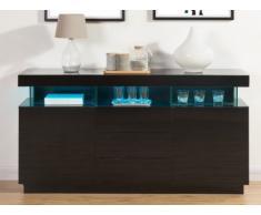 Buffet FABIO - MDF laqué noir - LEDs - 3 tiroirs & 2 portes