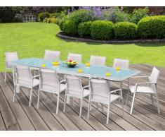 Salle à manger de jardin PALAOS - Table extensible 190/300cm + 10 chaises - Blanc
