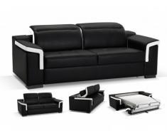 Canapé 3 places convertible express cuir luxe HIPPIAS - Bicolore noir et blanc