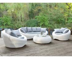 Salon de jardin WHITEHEAVEN en résine tressée blanche: canapé, 2 fauteuils et table basse