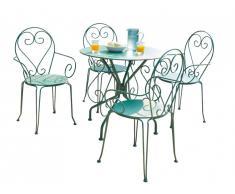 Salle à manger de jardin GUERMANTES en métal façon fer forgé: une table et 4 fauteuils empilables verts