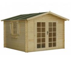 Abri de jardin en bois AKIRA - surface 9m² - épaisseur 28mm - toit en feutre bitumé