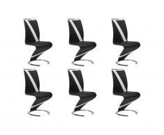 Lot de 6 chaises TWIZY - Simili noir & blanc