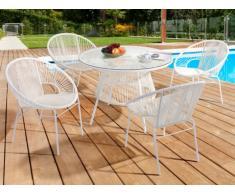 Salle à manger de jardin KELIOS en résine tressée - blanc : 4 fauteuils et une table
