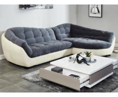 Canapé d'angle tissu et cuir LEANDRO - Gris et blanc ivoire - Angle droit