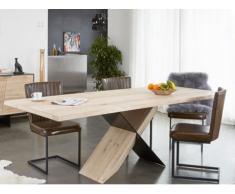 Table à manger LAGOA - 8 couverts - Chêne - Coloris : Naturel & Noir