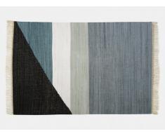 Tapis kilim tissé main en coton MYCENE - 160x230cm - Gris, noir, blanc et bleu