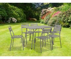 Salle à manger de jardin LUXEMBOURG en acier : une table et 6 chaises - Taupe