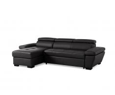 Canapé d'angle convertible en cuir JONOVA - Anthracite - Angle gauche