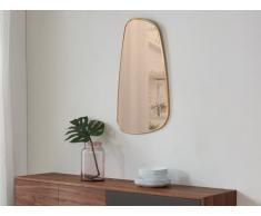 Miroir ambré forme rétroviseur LEVIOSA - MDF - 50 x 90 cm - Doré