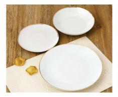 Service vaisselle 18 pièces MYLENE - Porcelaine - Blanc et doré
