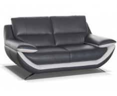 Canapé 2 places cuir luxe ADAGIO - Bicolore anthracite et gris