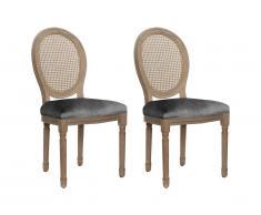 Lot de 2 chaises MARIE-ANTOINETTE en cannage - Velours & Bois d'Hévéa - Gris
