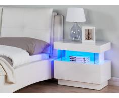 Chevet FABIO - MDF laqué blanc - LEDs - 1 tiroir et 1 niche