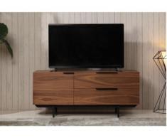 Meuble TV TAYRON 130cm - 1 porte & 2 tiroirs - MDF & pieds métal - Coloris Noyer