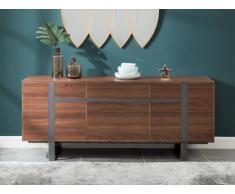Buffet PETILLANTE - 3 portes & 1 tiroir - MDF & métal - Coloris noyer