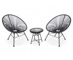 Salon de jardin ALIOS II en fils de résine tressés - noir : 2 chaises et une table