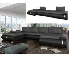 Canapé d'angle panoramique convertible et réversible en tissu et simili AZELMA - Noir et gris