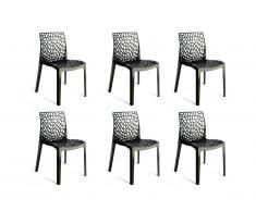 Lot de 6 chaises empilables DIADEME - Polypropylène - Gris anthracite