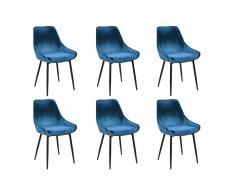 Lot de 6 chaises MASURIE - Velours - Bleu Nuit