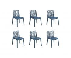 Lot de 6 chaises empilables DIADEME - Polypropylène - Bleu prusse