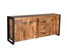 Buffet HARLEM - 3 portes et 3 tiroirs - Bois de Manguier & Métal