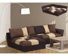 Canapé d'angle convertible en tissu ROMANE - Chocolat - Angle gauche